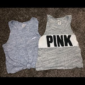 Two PINK crop tops.